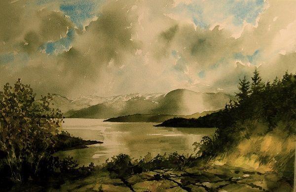 "Kunstneren i Bergen: ""Høst"" Akvarell"