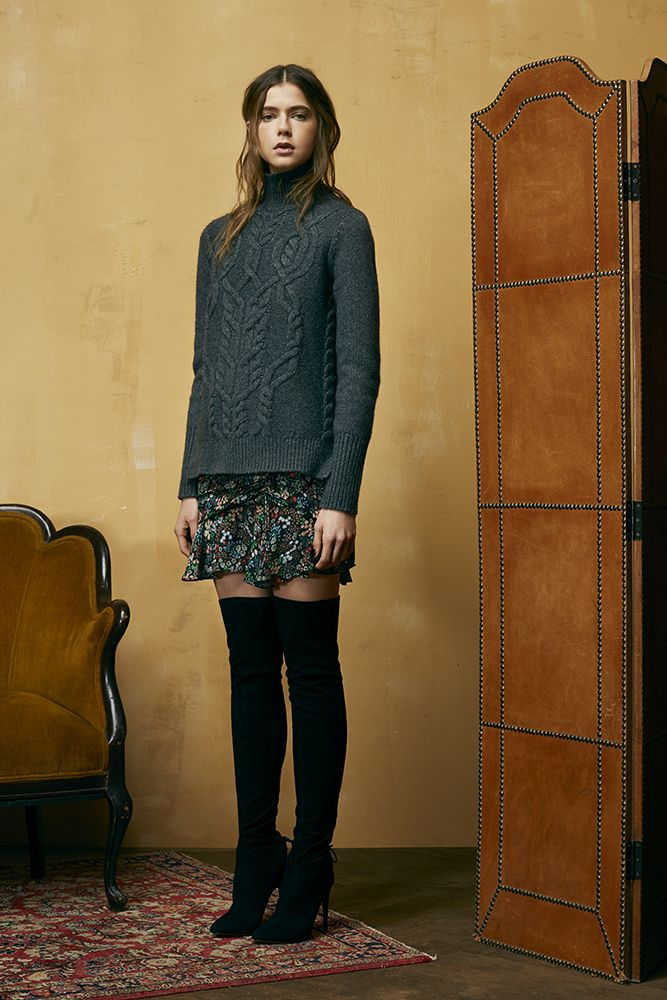 Veronica Beard - Floral Mini Skirt, Over the Knee Boots, Chunky Knit Turtleneck. Perfect Fall Outfit