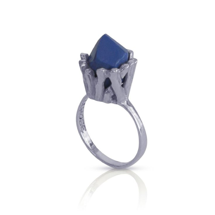 STICKS & STONES COCKTAIL RING by La Luna Rose. Available in a range of colours online now at www.lalunarose.com  #ring #cocktail #blue #silver #accessories #jewellery #jewels #sticks #sterlingsilver