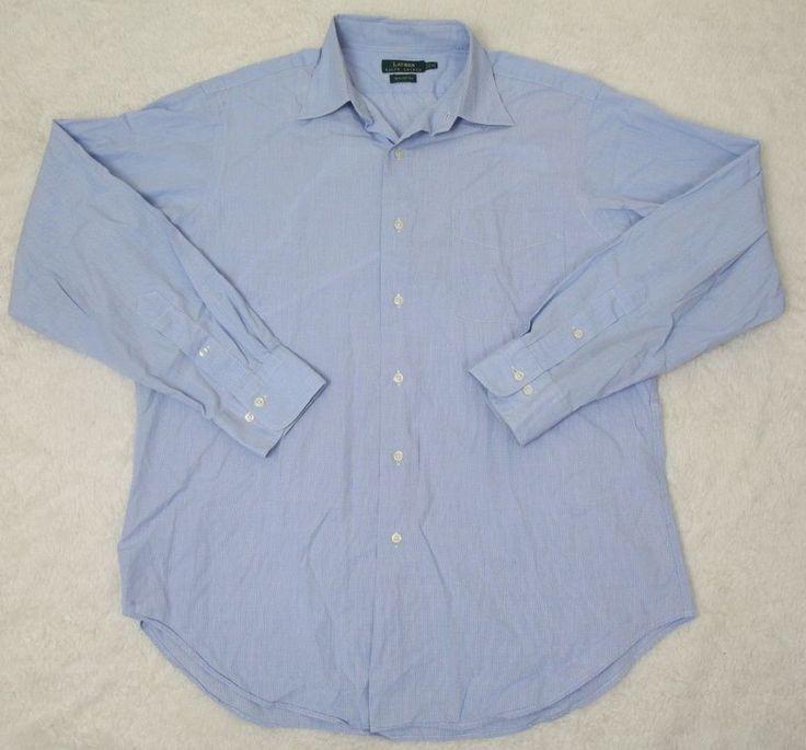Ralph Lauren Dress Shirt Long Sleeve Solid 16 34/35 Cotton Blue Solid Large Men #RalphLauren #cotton