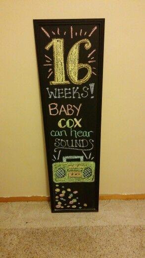 16 week pregnancy chalkboard :)