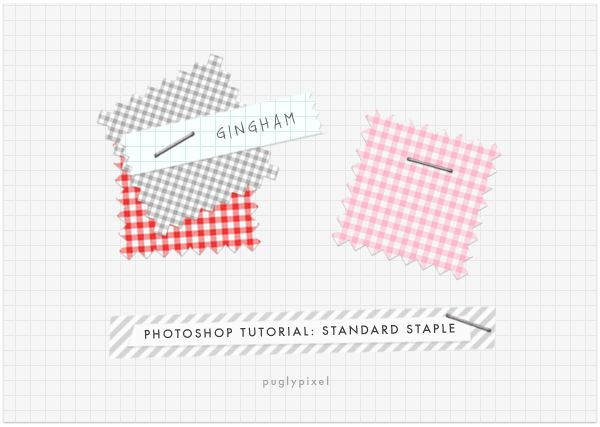 Make your own staples Photoshop Tutorial, and free download of PNG staple files.