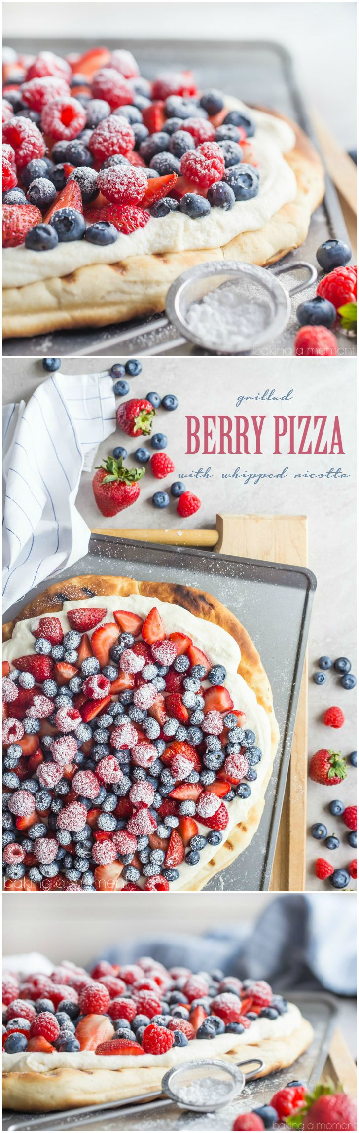 Such a great summer snack or dessert! This honey wheat grilled pizza whips up in a snap with no rise time, and the lightly sweet and fluffy whipped ricotta is so good with fresh berries!  food recipes berries