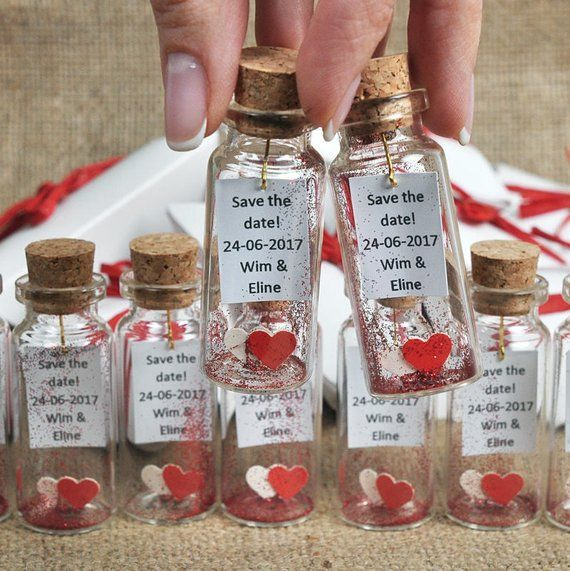 Red Wedding Ideas On A Budget: Message In A Bottle Invitation, Save The Date, Wedding