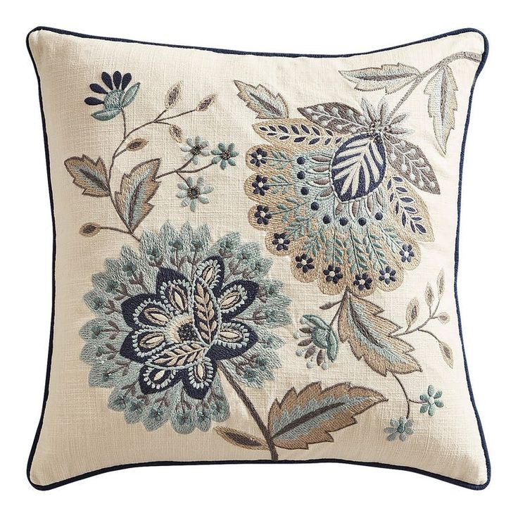 Beaded True Blue Jacobean Floral Pillow in 2020 Floral