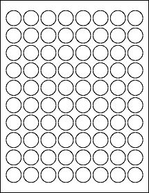 "80 0.875"""" Blank White Circle Labels"