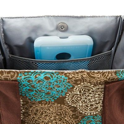 Fit & Fresh Venice Insulated Lunch Bag with Reusable Ice Pack - Teal Floral, Brown