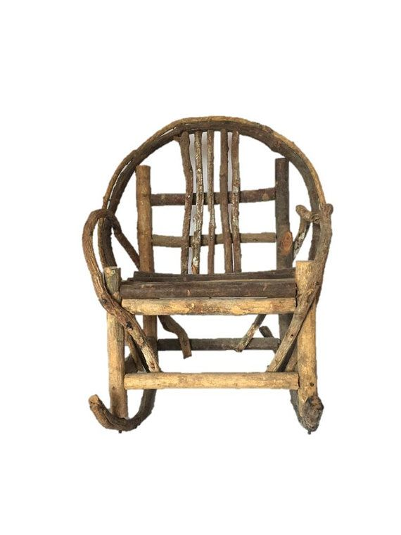 """Primitive Rustic Rocking Chair, Twig Bent Tree Branch Large Doll, Bear 12"""" Rocking Chair"""