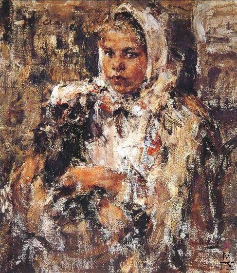 Н.И. Фешин. Картина : Портрет девочки в платке.