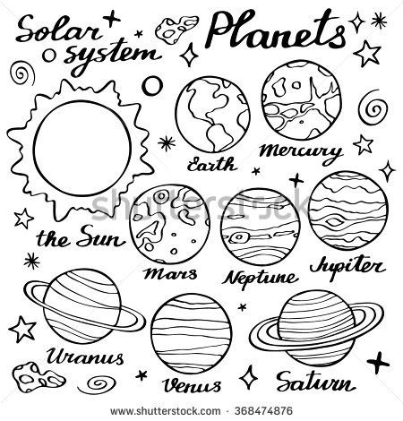 Planets set. Hand-drawn cartoon collection of solar system