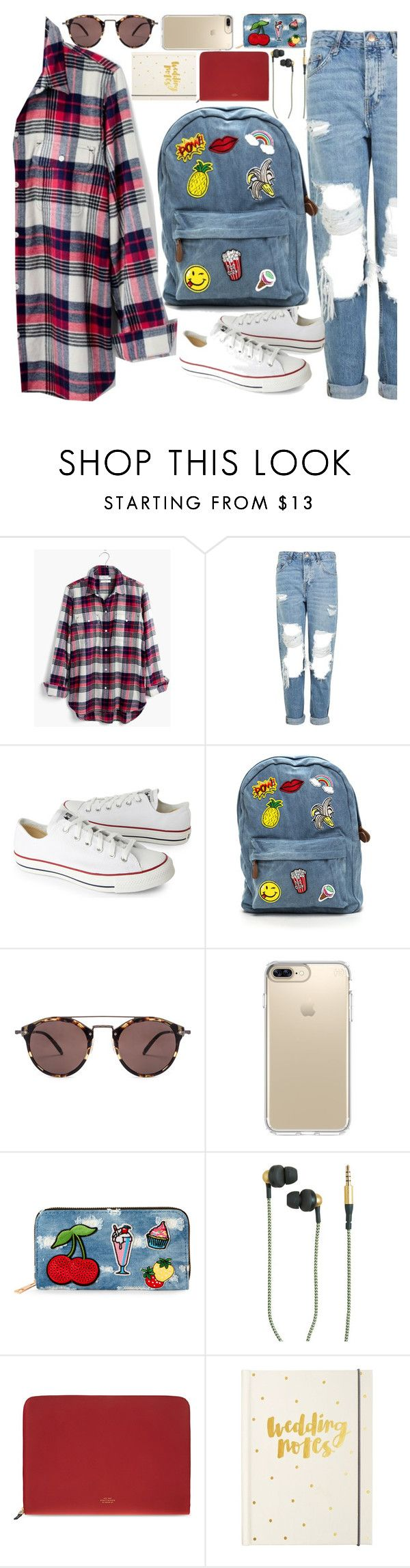 """HELLO."" by valemx ❤ liked on Polyvore featuring Madewell, Topshop, Converse, Oliver Peoples, Speck, Viola, Kreafunk, Smythson, kikki.K and contest"