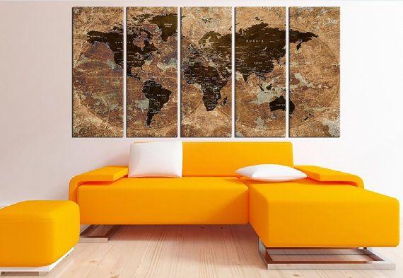 Push pin world map wall art canvas travel map by WorldWallArtShop
