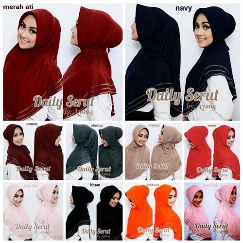 Hijab/Jilbab Daily Overdeck  Jilbab syria dengan pet antem, aksesori overdeck 3 (tiga) baris warna warni, serta tali pengikat belakang, praktis dan cocok utk sehari-hari.  Bahan : jersey Ket : sedikit Lebih Pendek Dari Photo  Keterangan dan stok warna ready : - Merah hati : ready - Navy : ready - Choco : ready - Abutua : ready - Mocca : ready - Merah : ready - Babypink : ready - Hitam : ready - Orange : ready - Dustypink : ready  * Mohon tidak mengorder warna DI LUAR KATALOG, maupun warna…