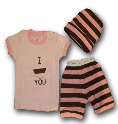 I Love You 3 Pieces Set - Baby Girls Clothes