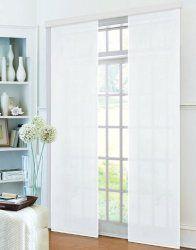 Flächenvorhang, Schiebegardine Blickdicht matt, 2 Stück 245×60, Weiß, aus Micro Satin (Mikrofaser Gewebe), mit Paneelwagen und Beschwerungsstange -085600-, 085600