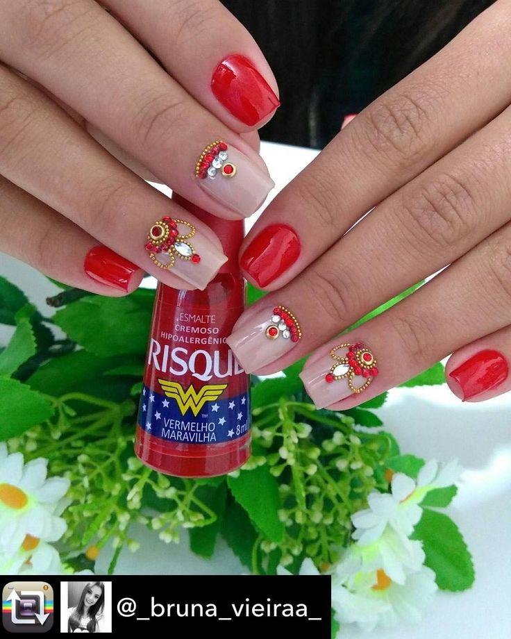 Repost from @_bruna_vieiraa_ using @RepostRegramApp -  @tata_customizacao_e_cia   #Pedrarias #Nailslove #UnhasDecoradas #unhaslindas #tatacostumizacao #vermelhomaravilha #Feitocomamor ❤️