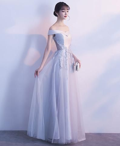 aaac6e5194 Gray blue tulle off shoulder long prom dress