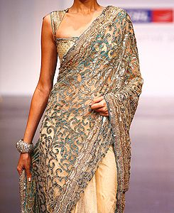 Day 25/$25,000: Breathtaking ebony and gold designer Saree, $5,000. I can't wait to wear this!