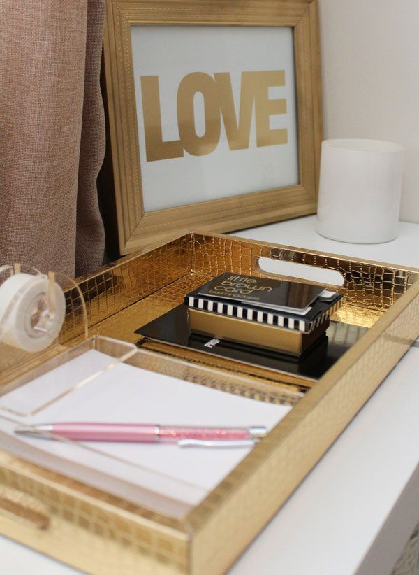 Use a tray to keep everything organized. | 54 Ways To Make Your Cubicle Suck Less