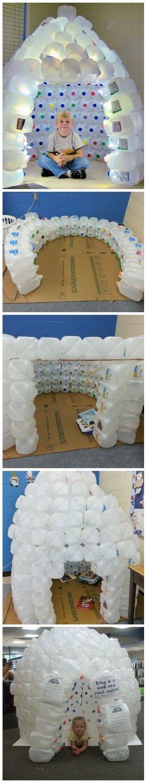 EL MUNDO DEL RECICLAJE: DIY igloo con bidones de plástico