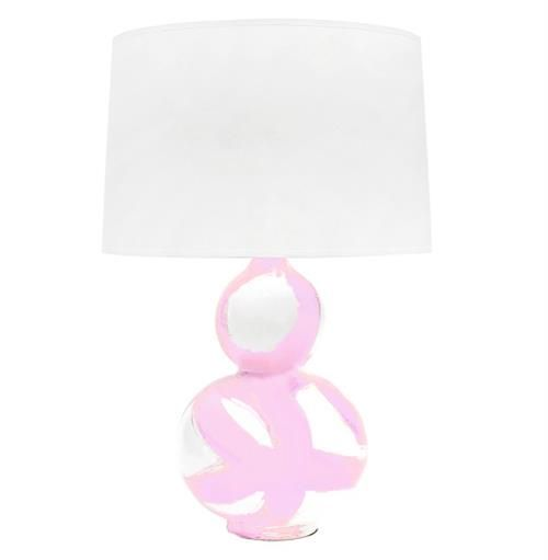 Hailey Hand Painted Gourd Shape Brushstroke Blush Pink Table Lamp
