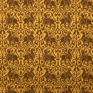 Silk Damask 12th c. Sicily, Brown. This griffin motifed silk was originally woven for a vestment in 1181 in Sicily. Influence of Greece, Byzantium and Egypt can be seen in many sicilian textiles and despite a short islamic rule their decorative ideas have flavoured arts of Sicily including this pattern. Now available at http://www.sartor.cz/1750-silk-damask-12th-c-sicily-brown.html