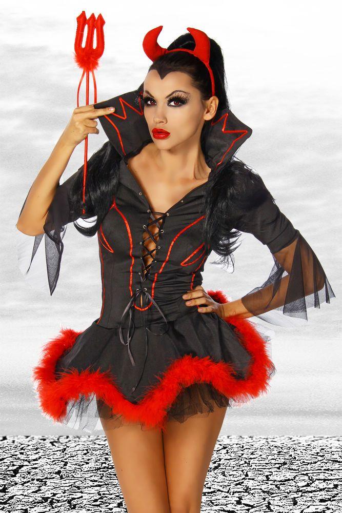 Teufels-Kostüm 3-teilig Damen kostüm Hallowen Karneval rot schwarz