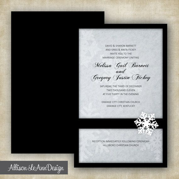 Black + White Snowflake Winter Wedding Invitation by Allison LeAnn Design