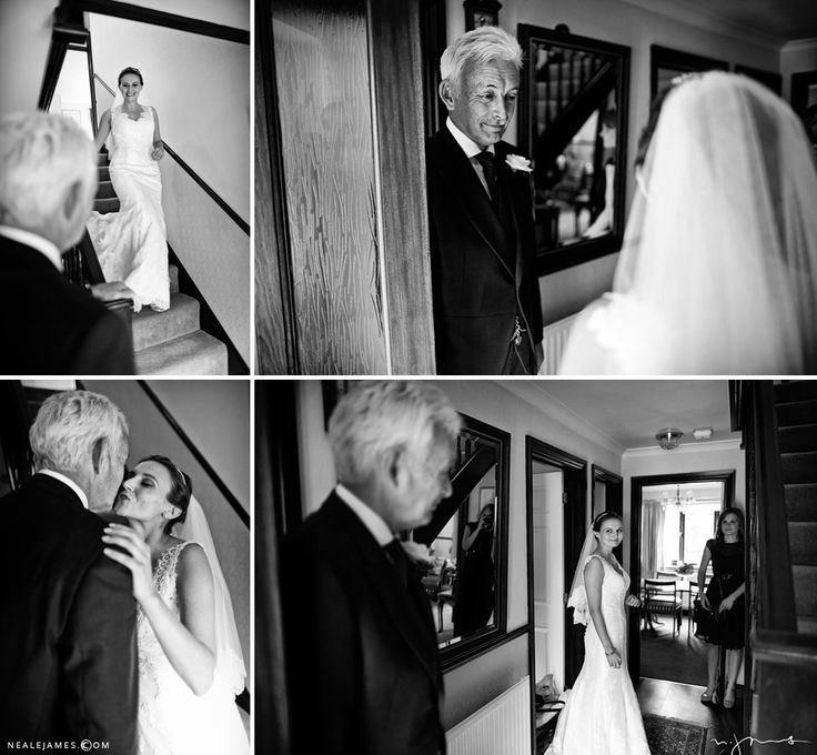 Black and white images of a bride being greeted by her father
