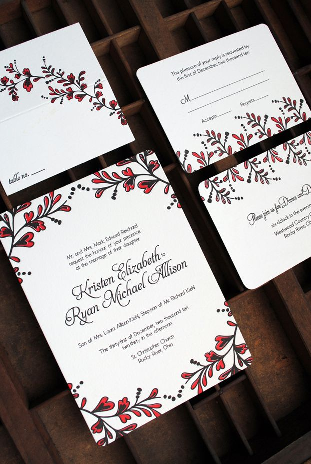 paper style wedding invitations%0A Kristen   Ryan u    s Red and Black New Year u    s Eve Wedding Invitations