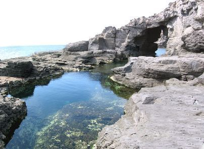 natural rock pool of Is Praneddas in the Island of Sant'Antioco, Sardinia - Italy