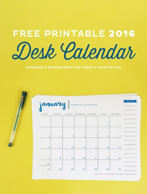 Free Printable 2016 Desk Calendar designed by Elegance & Enchantment for TodaysCreativeLife.com   Time to get organized. Print out a few calendars for each family member.