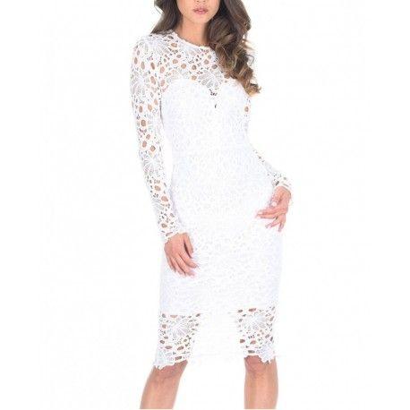 Biała koronkowa sukienka ołówkowa midi z długim rękawkiem