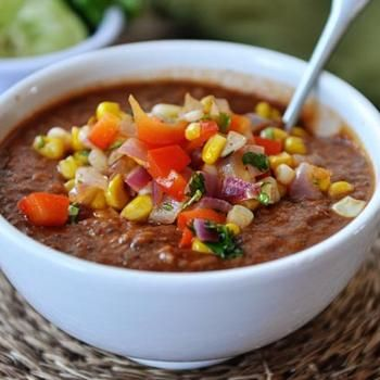 Fire-Roasted Tomato and Black Bean Soup with Fresh Corn Salsa