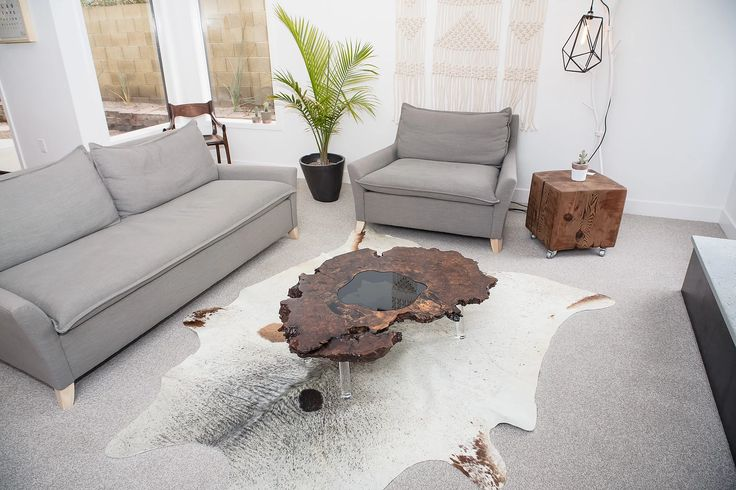 Free Form Rustic Modern Live Edge Walnut Burl Ring Slab With Glass Inlay  Staged In Scottsdale