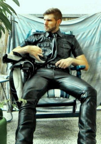 gay leather jacket fetish hand