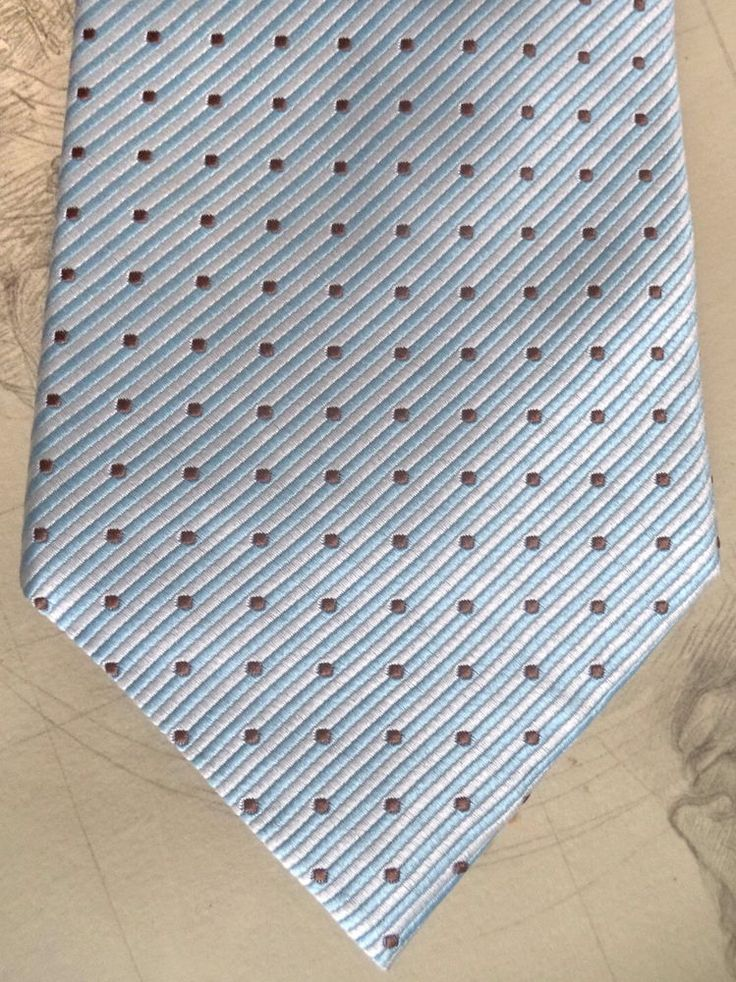 CARVEN Tie luxury New Silk Classic Pastel Blue Striped Dot Formal Casual Necktie