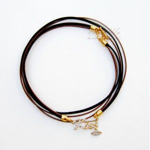 Brown Leather with Kiss Charm Necklace #leather necklace