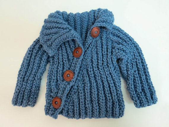 SWEET BLUE JEANS baby sweater. $72.00, via Etsy.