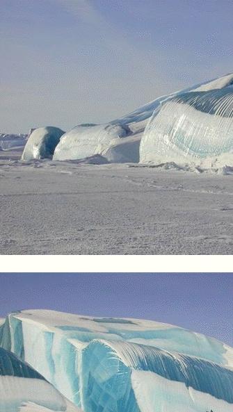 북극 안타르티아의 얼음파도  마치 파도가 치다가 순간적으로 얼어붙은 것처럼 보인다.  사실 북극에서 만들어진 커다란 얼음덩어리가 지각운동에 의해 떨어진 후 다듬어진 것이다.