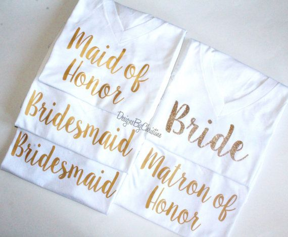 Bridal Party Gold Shirts - Deep V Neck in White Gold metallic - Semi Matte finish  I used a shirt that is super soft, lightweight for a comfy