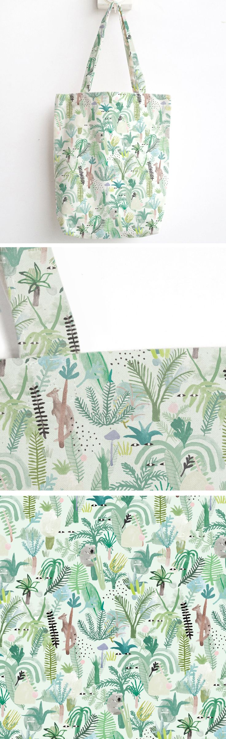 Fern gully tote - plants - watercolour - Australian design - Etsy - handmade Christmas - holiday gifts - nature lover - accessories design - stocking stuffer