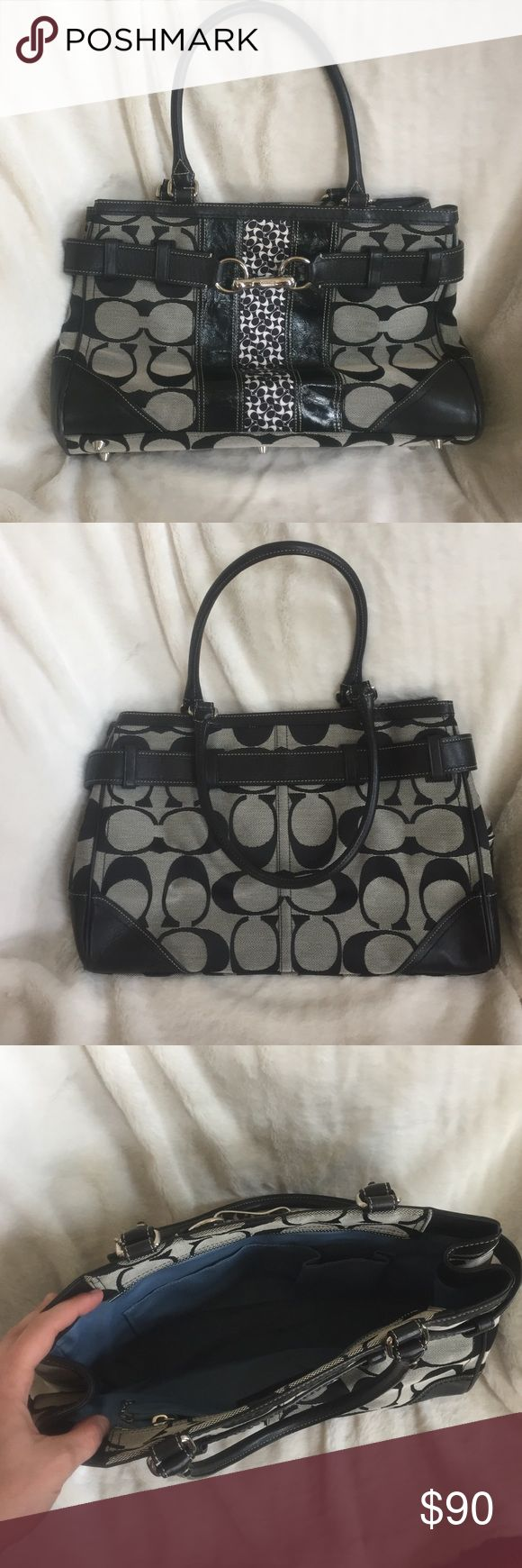 Coach purse great condition black and gray Lightly used very nice coach purse has a little staining on the inside lining but overall very very clean! Coach Bags Shoulder Bags
