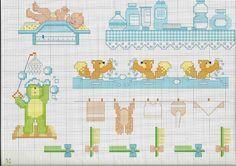 Bordure punto croce per copertina lenzuolino bebè bagnetto spazzole