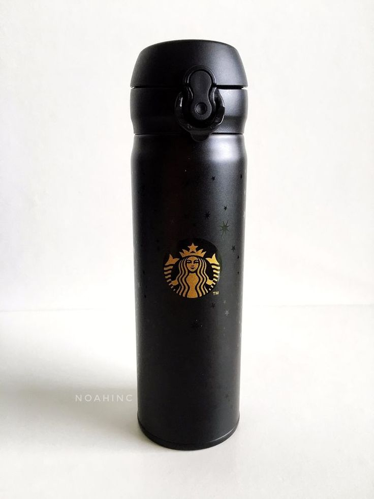 STARBUCKS BRUNEI THERMOS FLASK TUMBLER Matte Black Gold UV Star Limited 17oz HTF #StarbucksCoffeeCompany
