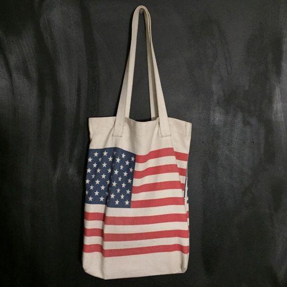 Selling this American Flag Tote in my Poshmark closet! My username is: ashleyprenza. #shopmycloset #poshmark #fashion #shopping #style #forsale #American Apparel #Handbags
