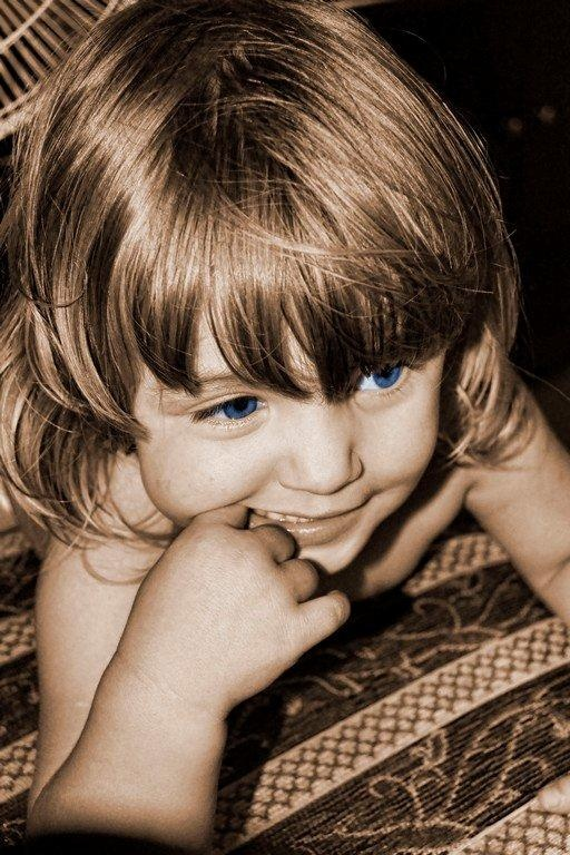 Blue Eyes Smiling on Birthday by Japie Scholtz
