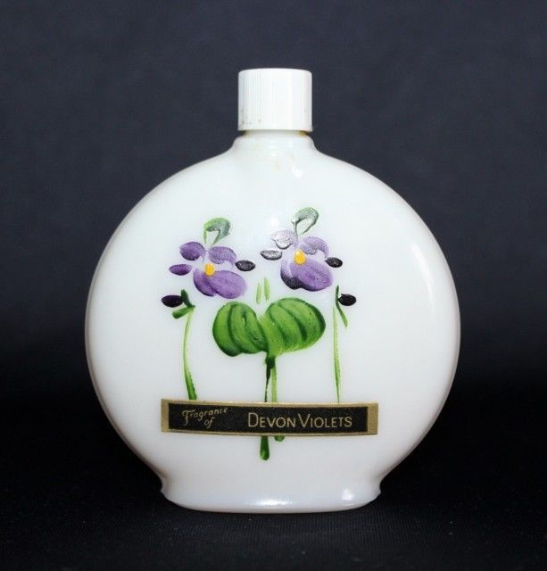 Vintage Devon Violets Miniature WHITE MILK Glass Perfume Bottle Hand Painted  #LOWNDSPATEMAN #Perfumes