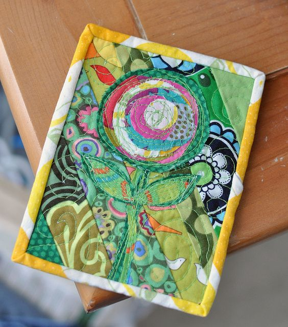 Post Card size mini quilt by LRstitched, via Flickr