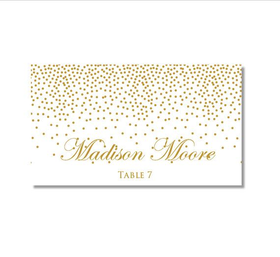 Printable Wedding Place Cards  Gold Wedding  Gold by ClearyLane